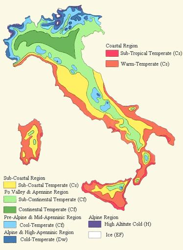 Климатические зоны Италии